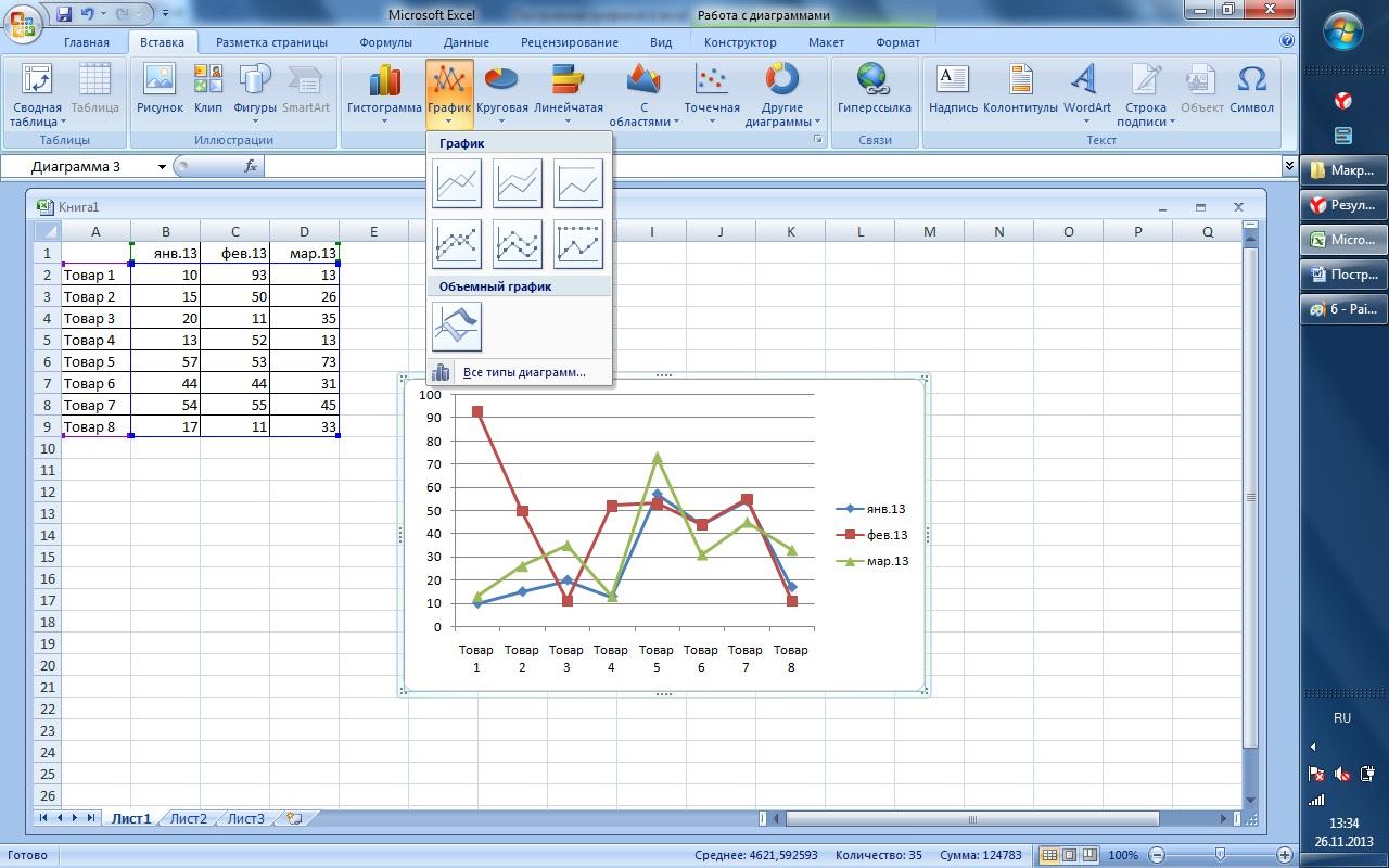 Как строить графики в microsoft excel su  excel 2007 информацией на которой будет основываться структура объекта Затем выделяем область данных мышкой Выбираем на панели задач вкладку